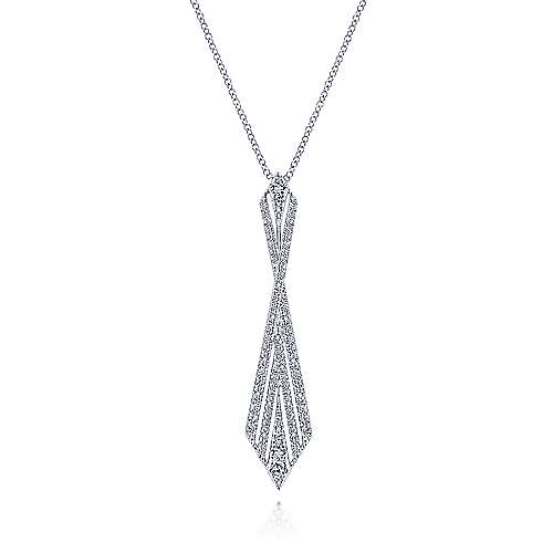 14K White Gold Abstract Diamond Pendant Necklace - designed by Gabriel & Co., New York. Passion, Love & You.