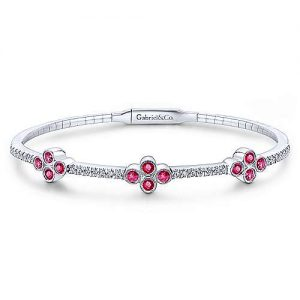 14K White Gold Bangle with Diamond and Ruby Quatrefoil Stations - designed by Jewelry Designers Gabriel & Co., New York. Passion, Love & You.