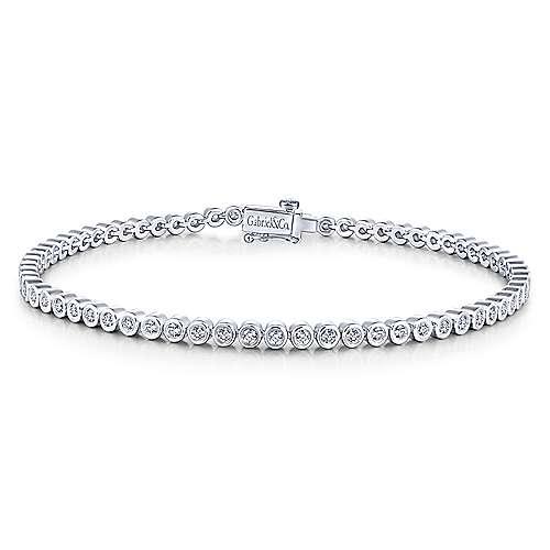 14K White Gold Bezel Set Diamond Tennis Bracelet - designed by Jewelry Designers Gabriel & Co., New York. Passion, Love & You.
