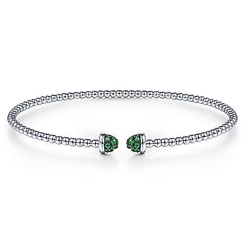 14K White Gold Bujukan Bead Cuff Bracelet with Emerald Pavé Caps - designed by Jewelry Designers Gabriel & Co., New York. Passion, Love & You.