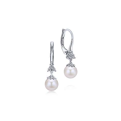 14K White Gold Cultured Pearl Diamond Drop Earrings - designed by Jewelry Designers Gabriel & Co., New York. Passion, Love & You.