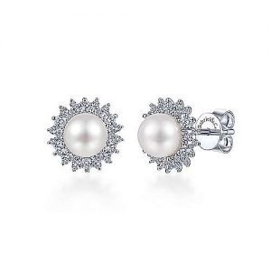 14K White Gold Cultured Pearl Scalloped Diamond Halo Stud Earrings - designed by Gabriel & Co., New York. Passion, Love & You.