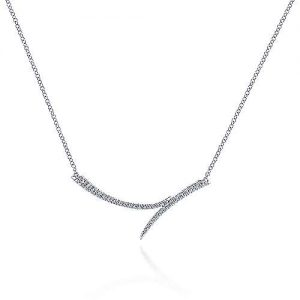 14K White Gold Curved Bypass Bar Necklace with Diamonds - designed by jewelry designer Gabriel & Co., New York. Passion, Love & You.