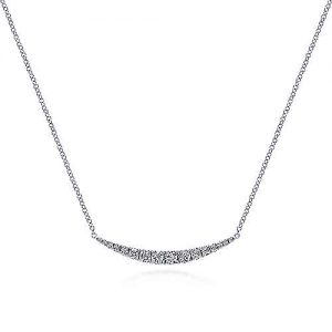 14K White Gold Curved Diamond Bar Necklace - designed by jewelry designer Gabriel & Co., New York. Passion, Love & You.