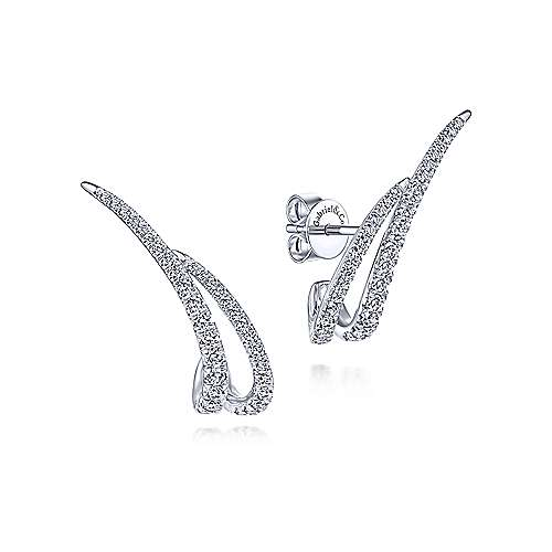 14K White Gold Curved Double Bar Diamond Post Earrings - designed by Jewelry Designers Gabriel & Co., New York. Passion, Love & You.