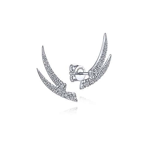 14K White Gold Curved Double Bar Diamond Stud Earrings - designed by Jewelry Designers Gabriel & Co., New York. Passion, Love & You.
