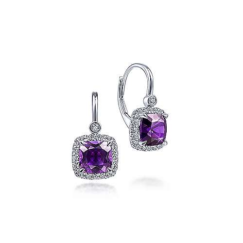 14K White Gold Cushion Cut Amethyst and Diamond Halo Drop Earrings - designed by Jewelry Designers Gabriel & Co., New York. Passion, Love & You.