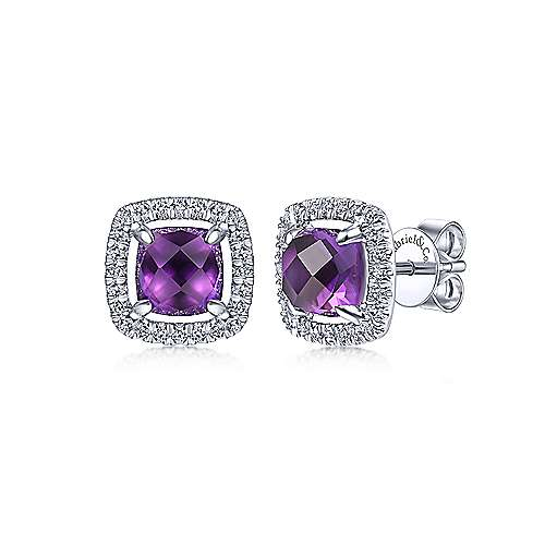 14K White Gold Cushion Cut Amethyst and Diamond Halo Stud Earrings - designed by Gabriel & Co., New York. Passion, Love & You.