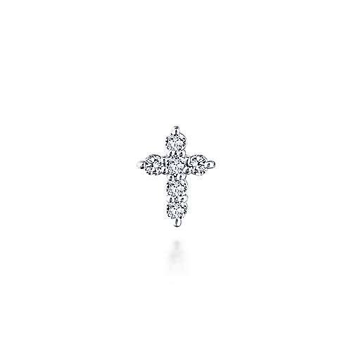 14K White Gold Diamond Cross Pendant - designed by Jewelry Designers Gabriel & Co., New York. Passion, Love & You.