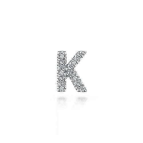 14K White Gold Diamond K Pendant designed by jewelry designer Gabriel & Co., New York. Passion, Love & You.