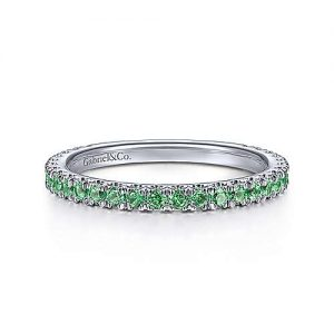 14K White Gold Emerald Stackable Ring - designed by Jewelry Designer Gabriel & Co., New York. Passion, Love & You.