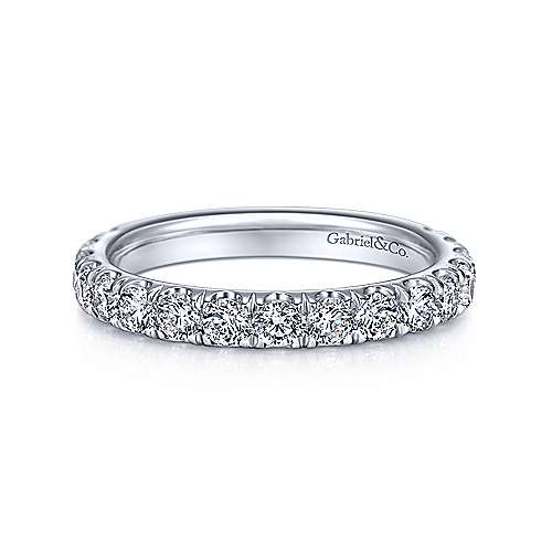 14K White Gold French Pavé Diamond Anniversary Band - 0.95 ct - designed by Jewelry Designers Gabriel & Co., New York. Passion, Love & You.