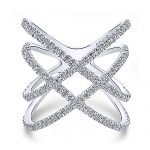 14K White Gold Layered Woven Diamond Ring - designed by Jewelry Designers Gabriel & Co., New York. Passion, Love & You.