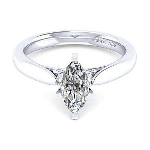 Gabriel & Co. 14K White Gold Marquise Shape Diamond Classic Engagement Rings