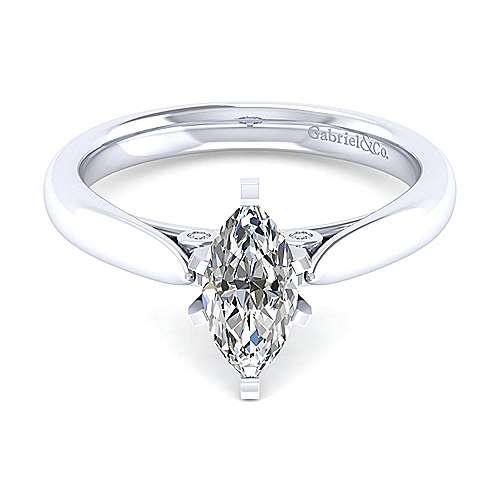 Gabriel & Co. 14K White Gold Marquise Shape Diamond Classic Engagement Rings