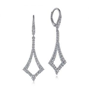 14K White Gold Open Diamond Kite Leverback Earrings - designed by Jewelry Designers Gabriel & Co., New York. Passion, Love & You.