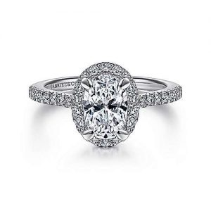 14K white gold oval halo diamond Gabriel & Co. engagement rings