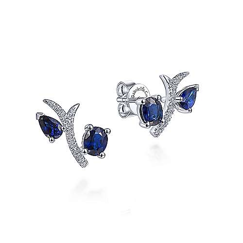 14K White Gold Pavé Diamond Oval & Pear Cut Sapphire Stud Earrings - designed by Jewelry Designers Gabriel & Co., New York. Passion, Love & You.