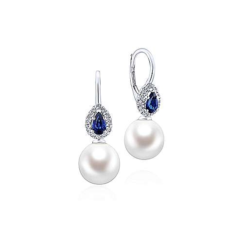 14K White Gold Pear Sapphire and Diamond Halo Earrings with Pearl Drops - designed by Gabriel & Co., New York. Passion, Love & You.