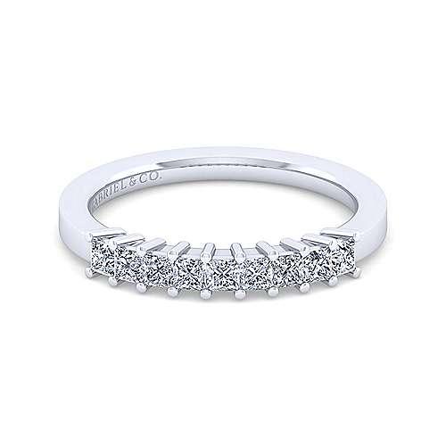 14K White Gold Princess Cut 13 Stone Prong Set Diamond Anniversary Band - 0.47 ct - designed by Jewelry Designers Gabriel & Co., New York. Passion, Love & You.