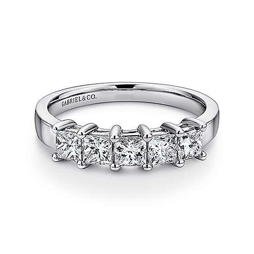 14K White Gold Princess Cut 5 Stone Prong Set Diamond Wedding Band - 1.42 ct - designed by Jewelry Designers Gabriel & Co., New York. Passion, Love & You.