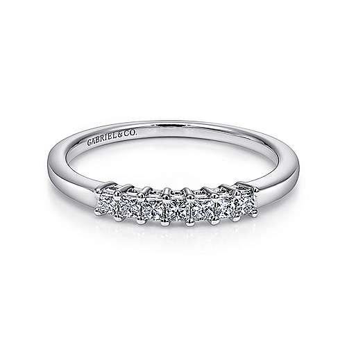 14K White Gold Princess Cut 7 Stone Prong Set Diamond Wedding Band - 0.23 ct - designed by Gabriel & Co., New York. Passion, Love & You.