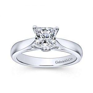 Gabriel & Co. 14K White Gold Princess Cut Diamond Solitaire Engagement Rings