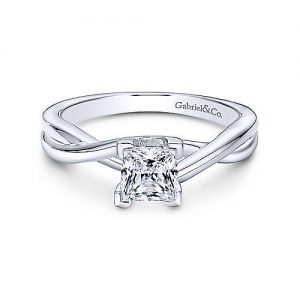Gabriel & Co. 14K White Gold Princess Cut Diamond Solitaire Engagement Rings