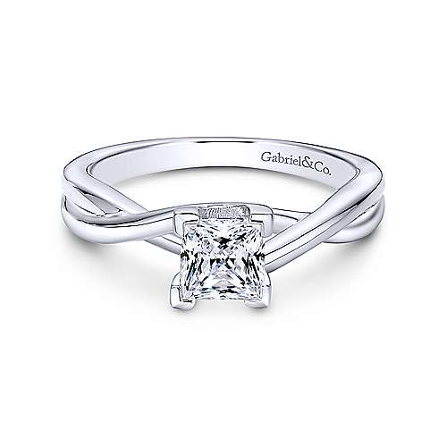 14K White Gold Princess Cut Diamond Engagement Ring - designed by Jewelry Designers Gabriel & Co., New York. Passion, Love & You.
