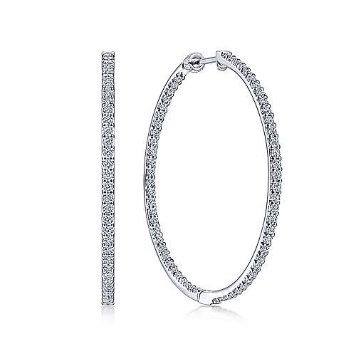 14K White Gold Prong Set 40mm Round Inside Out Diamond Hoop Earrings - designed by Jewelry Designers Gabriel & Co., New York. Passion, Love & You.