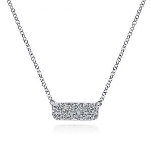 14K White Gold Rectangular Diamond Pendant Necklace - designed by Gabriel & Co., New York. Passion, Love & You.