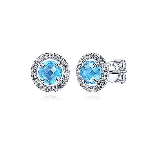 14K White Gold Round Blue Topaz Floating Diamond Halo Stud Earrings - designed by Jewelry Designers Gabriel & Co., New York. Passion, Love & You.
