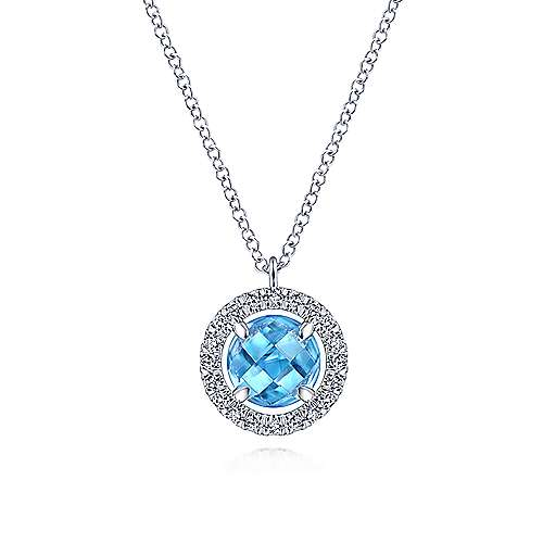 14K White Gold Round Blue Topaz and Diamond Halo Pendant Necklace - designed by Gabriel & Co., New York. Passion, Love & You.