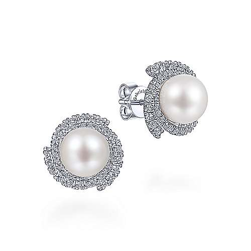 14K White Gold Round Cultured Pearl Swirling Diamond Halo Stud Earrings - designed by Jewelry Designers Gabriel & Co., New York. Passion, Love & You.