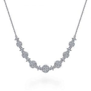 14K White Gold Round Diamond Cluster Station Necklace - designed by Jewelry Designers Gabriel & Co., New York. Passion, Love & You.
