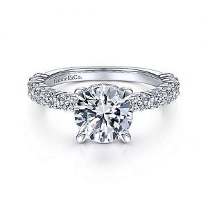14K White Gold Round Diamond Gabriel & Co. Classic Engagement Rings