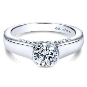 Gabriel & Co. 14K White Gold Round Diamond Solitaire Engagement Rings