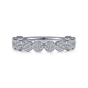 14K White Gold Round Diamond Pavé Cluster Eternity Ring - designed by jewelry designer Gabriel & Co., New York. Passion, Love & You.