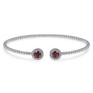 14K White Gold Round Garnet and Diamond Halo Bujukan Bangle - designed by Jewelry Designers Gabriel & Co., New York. Passion, Love & You.