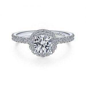 14K white gold round halo diamond Gabriel & Co. engagement rings