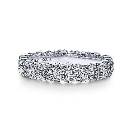 14K White Gold Round Pavé Diamond Band - designed by jewelry designer Gabriel & Co., New York. Passion, Love & You.
