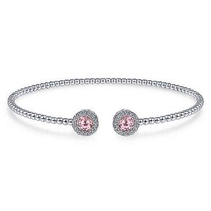 14K White Gold Round Pink Zircon and Diamond Halo Bujukan Bangle designed by jewelry designer Gabriel & Co., New York. Passion, Love & You.