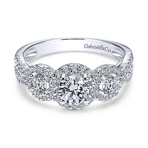 Gabriel & Co. 14K White Gold Round Three Stone Halo Diamond Engagement Rings