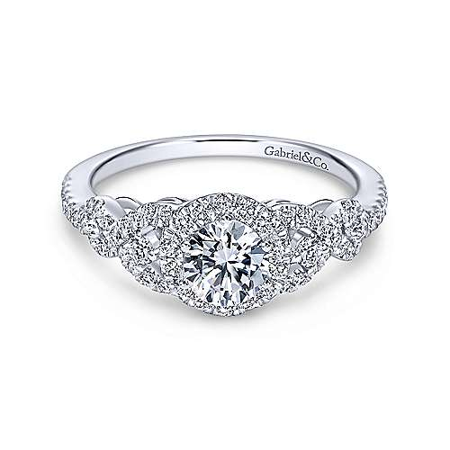 Gabriel & Co. 14K White Gold Round Three Stone Halo Diamond Engagement Rings