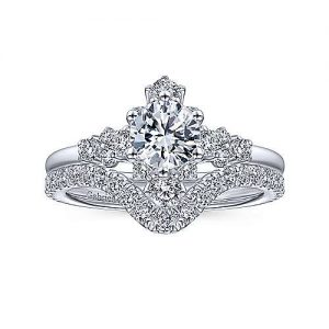 Gabriel & Co. 14K white gold starburst halo round diamond Gabriel & Co. complete engagement rings