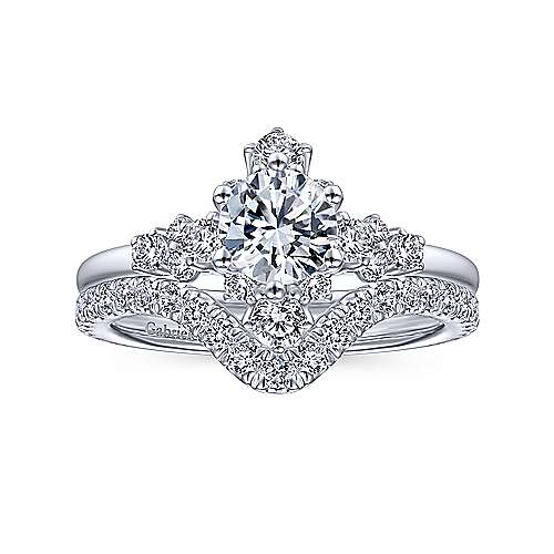 14K White Gold Starburst Halo Round Diamond Engagement Ring - designed by Jewelry Designers Gabriel & Co., New York. Passion, Love & You.