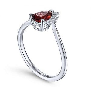 14K White Gold Teardrop Garnet and Diamond Triangle Ring - designed by jewelry designer Gabriel & Co., New York. Passion, Love & You.