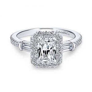Gabriel & Co. 14K White Gold Three Stone Halo Emerald Cut Diamond Complete Engagement Rings