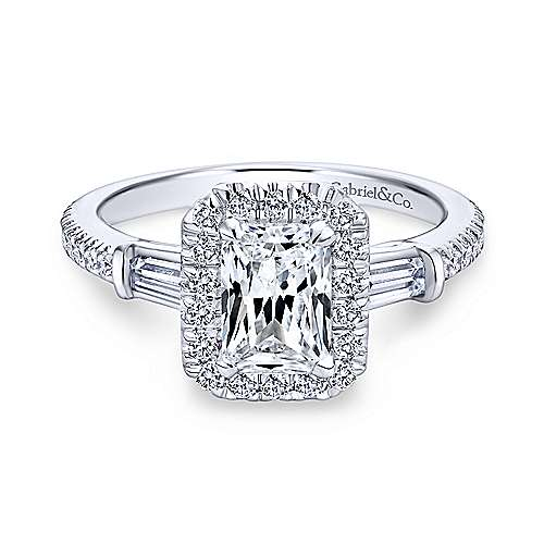 14K White Gold Three Stone Halo Emerald Cut Diamond Engagement Ring - designed by Jewelry Designers Gabriel & Co., New York. Passion, Love & You.