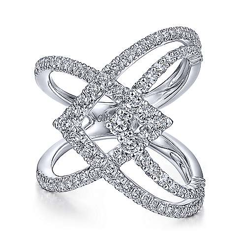 14K White Gold Wide Band Layered Diamond Ring - designed by Jewelry Designers Gabriel & Co., New York. Passion, Love & You.